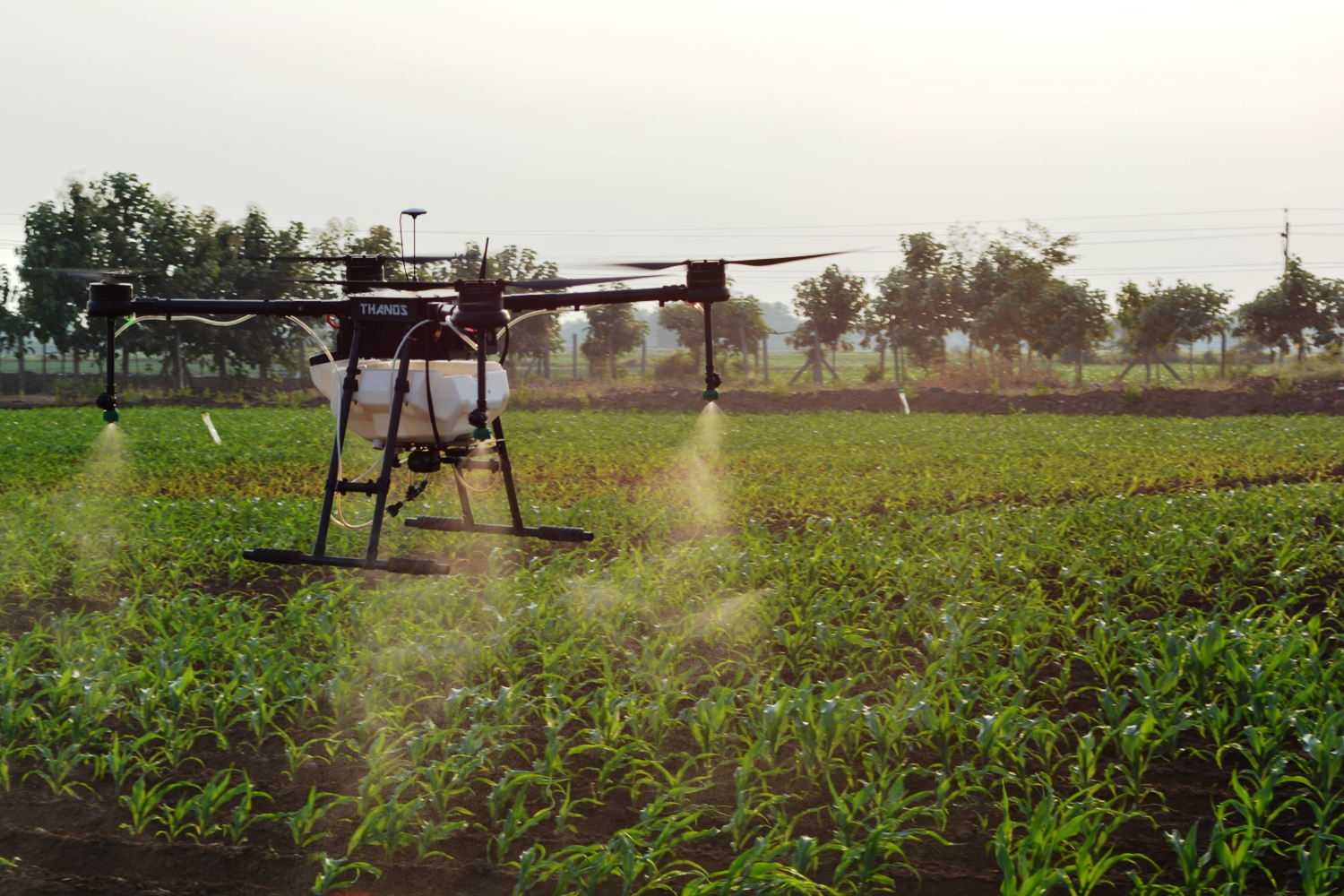Agricultural Spraying Drone in Action