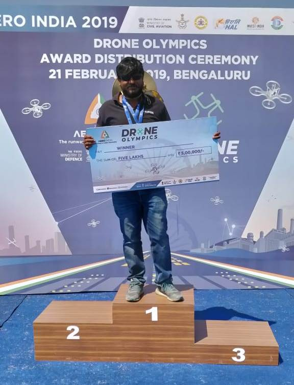 Our CTO with Drone Olympics 2019 First Prize Award